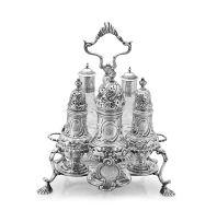 A George III silver cruet frame, Samuel Wood, London, 1760