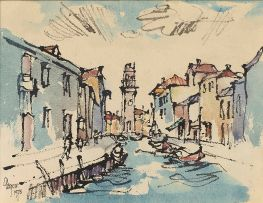 Gregoire Boonzaier; Canal Scene in Venice with Tower