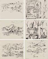 Walter Battiss; Hadhramaut, Portfolio of 41 Ink Drawings