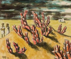 Peter Clarke; Landscape with Red Succulents