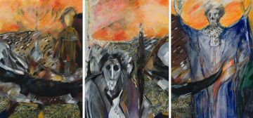 Edwine Simon; Hearing the Footsteps of Freedom, triptych