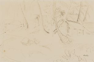 Alexis Preller; Island Sketch with Palm Trees