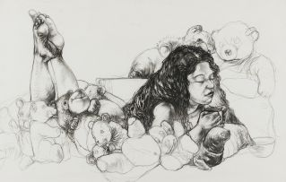 Diane Victor; Reclining Woman with Teddy Bears