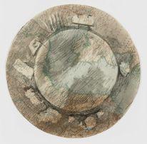 William Kentridge; Tondo Drawing C (with Cloud and Landscape)