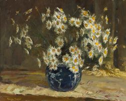 Adriaan Boshoff; Daisies in the Blue Vase