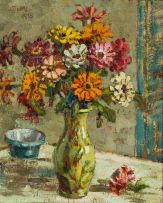 Gregoire Boonzaier; Still Life with Vase of Zinnias