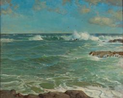 Walter Gilbert Wiles; Seascape with Gulls