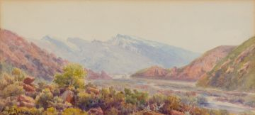 Hugo Naudé; Landscape with Mountains and River