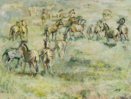 Zakkie Eloff; Zebra on a Grassy Plain