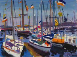Gerhard Batha; Boats at Anchor (Dutch Flags)