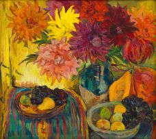 Irma Stern; Still Life with Fruit and Dahlias
