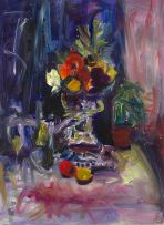 Gerhard Batha; Still Life with Fruit, Plant and Wine Glass on a Table