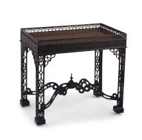 A George III style carved mahogany silver table, 19th century
