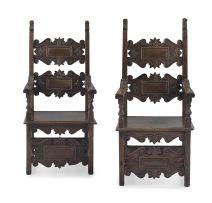 A pair of Italian walnut high-back armchairs, 18th/19th century