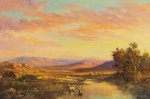 Gabriel de Jongh; Dawn Landscape with River and Sheep