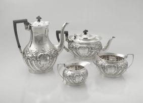 An Edward VII silver four-piece tea set, Mappin & Webb Ltd, Sheffield, 1902