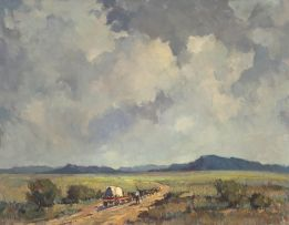 Bruce Hancock; Landscape with Oxwagon