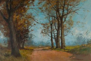 Titta Fasciotti; Landscape with Road through Trees