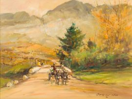 Christiaan Nice; Donkey Cart in a Mountain Landscape