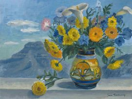 James Thackwray; A Still Life of Flowers with a View of Spandau's Kop