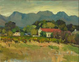 Piet van Heerden; Cape Cottage with Vineyards