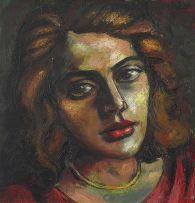 Johannes Meintjes; Girl in Red (Portrait of Ernestine Meintjes, the artist's sister)