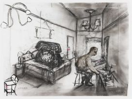 William Kentridge and Deborah Bell and Robert Hodgins; Hotel (Telephone and Man in Hotel Room, Drawing for Animation)