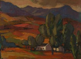 James Thackwray; Cottages under the Trees, Mountains Beyond