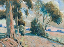Sydney Carter; Country Road with Gum Trees