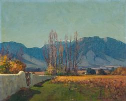 Piet van Heerden; Cape Landscape with Vineyard and Poplars
