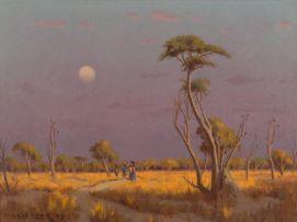 Willem Hermanus Coetzer; Moonrise at Sunset, Bushveld