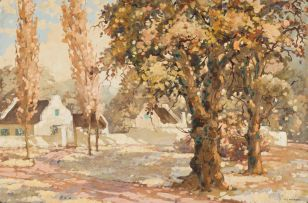 Nils Andersen; Cape Dutch Homestead with Oak and Poplar Trees