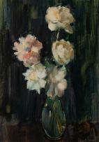 Clement Serneels; Roses in Glass Vase