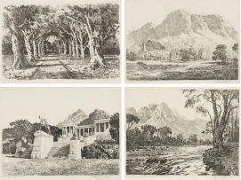 Tinus de Jongh; Bome (Trees), Bergvliet; Cottage, Kirstenbosch; Rhodes Memorial; Berg River, Jonkershoek, Stellenbosch, four