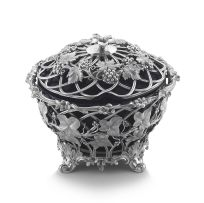 A Victorian silver and blue-glass covered sugar basket, The Barnards, London, 1843