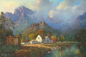 Gabriel de Jongh; Cape Cottage in a Mountainous Landscape