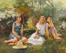 Marié Vermeulen-Breedt; Young Women in a Garden