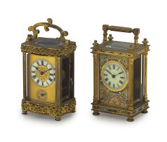 A French brass cloisonné carriage clock, circa 1850