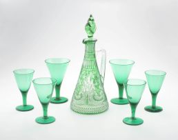 A green and clear glass decanter and stopper, late 19th/early 20th century