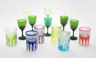 A quantity of drinking multi-coloured glasses