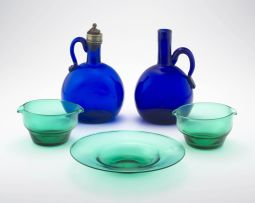 A pair of blue glass decanters, 19th century