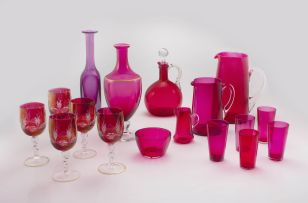 A quantity of pink glass, 19th century and later