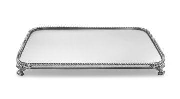 A Victorian silver-plated mirror plateau