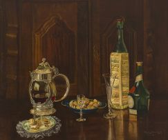 Vernon Spencelayh; Still Life with Liqueur Bottles and Walnuts