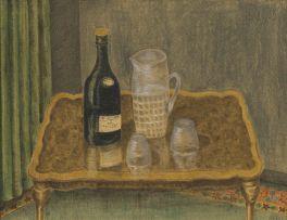 British School; Still Life with Champagne Bottle