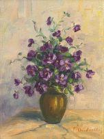Italian School; Purple Flowers