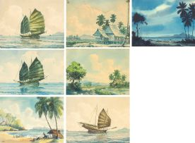 Abu Baker Ibrahim; Two Studies of Junks; a Seascape; and a Stilthouse, four