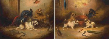 English School 19th Century; Four Dogs with a Bone; Three Dogs with a Caged Rat, two