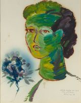 Christo Coetzee; Head with Flowers