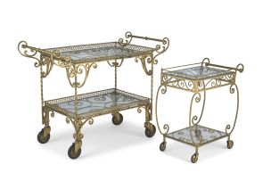 A gilt-metal two-tiered drinks trolley, 20th century